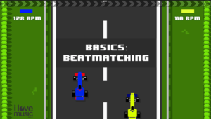 Basics of beat matching shown in old school car racing game